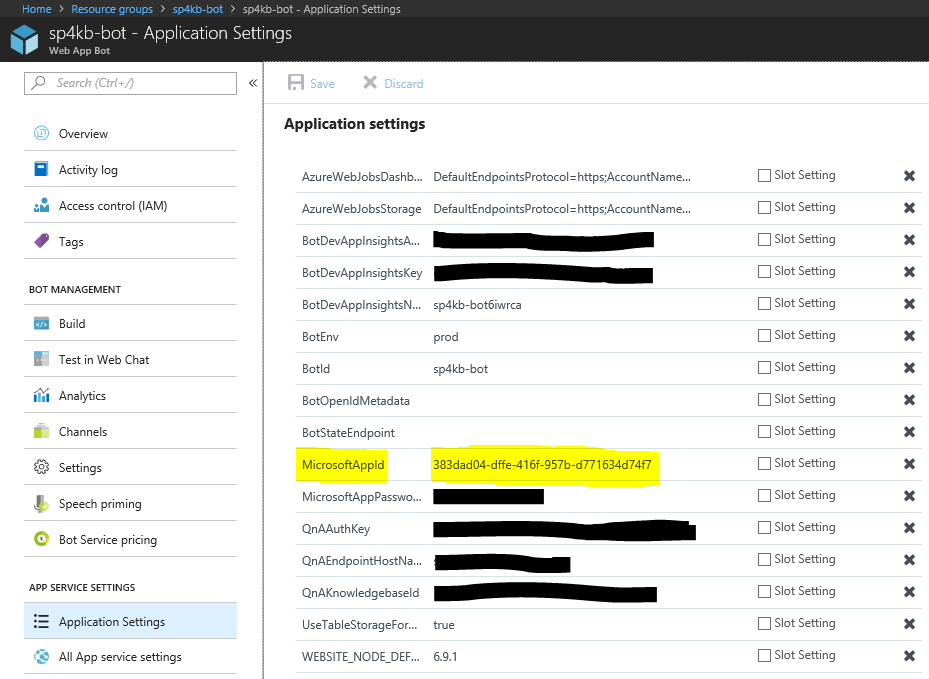 Web App Bot application settings